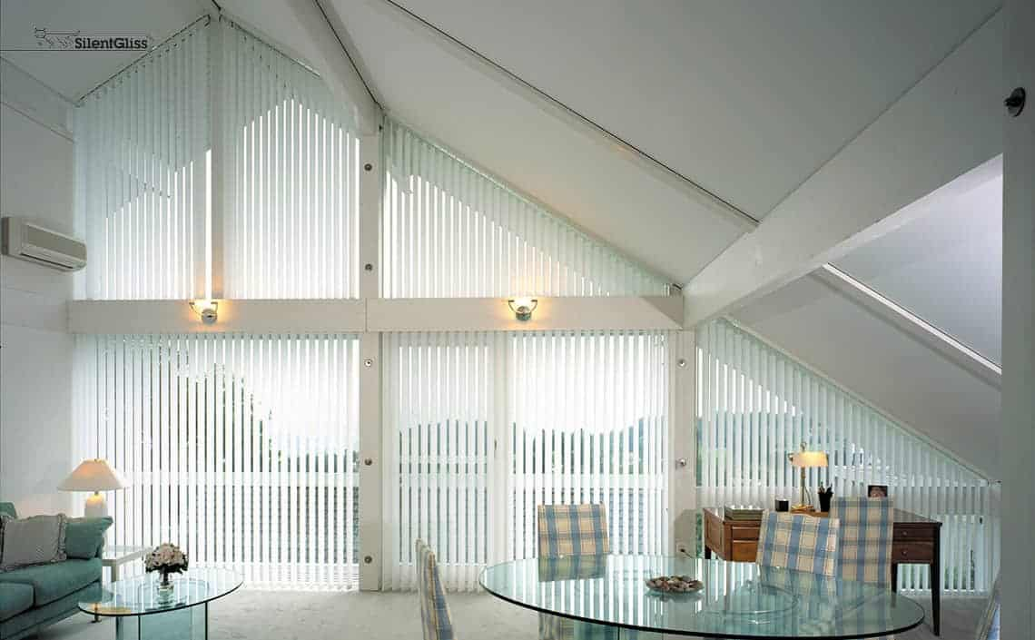 Vertical blinds for shaped windows