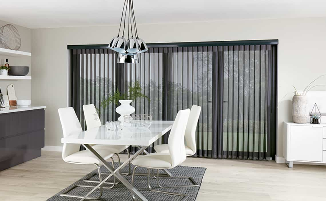 Allusion Blinds Horizon Pewter Sheer Open